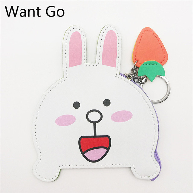 Want Go Cute Cartoon Rabbit Mini Coin Purse Animal Small Purse Mini Wallet Pouch Women Clutch Bag Large Capacity Storage Bag