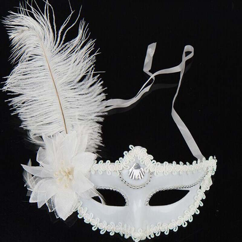 Women Princess Venetian Mardi Gras Masquerade Party White Feather Masks Christmas New Year