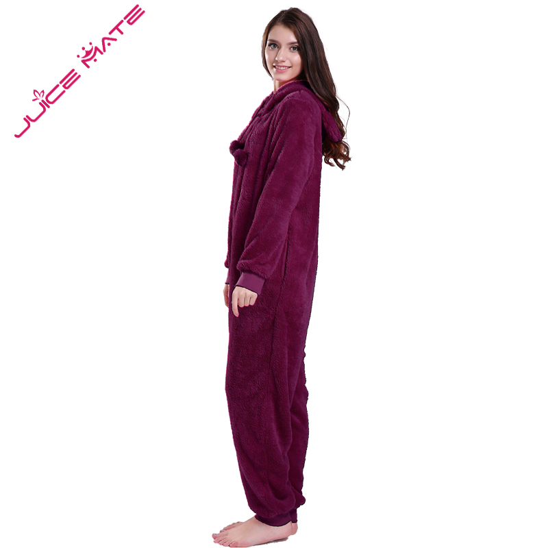d1960a76b529 JuiceMate Plus Size Fluffy Fleece Hooded Onesie Jumpsuit Overall Pyjama Set  With Animal Ears Winter Warm Pajama Onesie For Women on Aliexpress.com