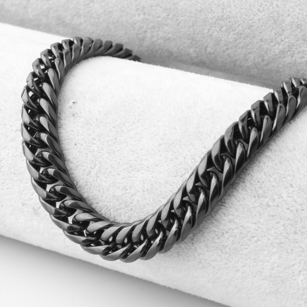 11mm Wide Men Male Black Color Double Curb Link Chain Necklace Or Bracelet Stainless Steel Trendy Jewelry 7-40 Inches Long