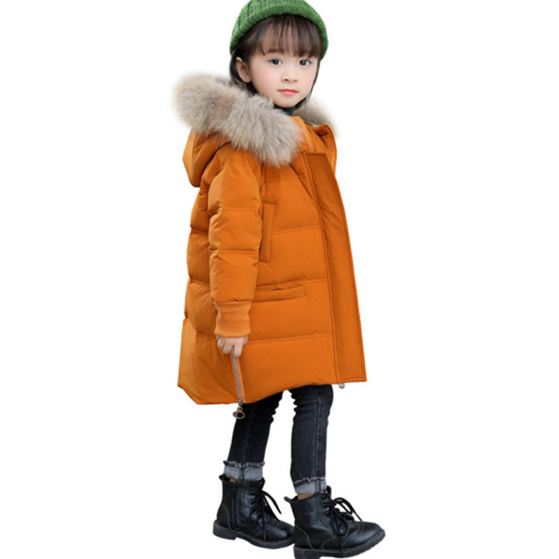 2018 Winter Down Jacket For Girl Kids Clothes Children Duck Down Jackets Girls Parka Snowsuits Hooded Warm Coats Long Outerwear купить в Москве 2019