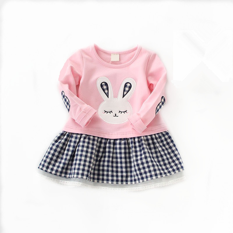 New Girls Dress 2016 Autumn Casual Style Baby Girl Clothes Long Sleeve Cartoon Bunny Print Plaid Dresses for Kids Clothes