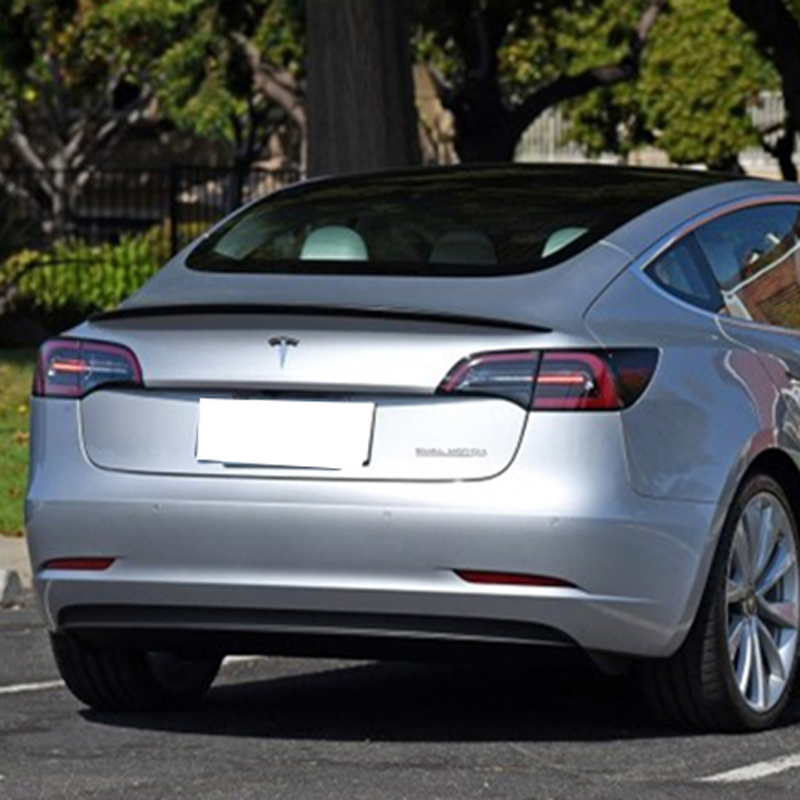 Spoiler Fibra De Carbono Tronco Spoiler Traseiro Acabamento Preto Para Tesla Model 3 2017 2018 2019