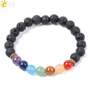 Image 2 - CSJA Natural Black Lava Beads Men Bracelets Muti color 7 Chakra Mala Stone Prayer Meditation Diffuser Energy Reiki Jewelry E955