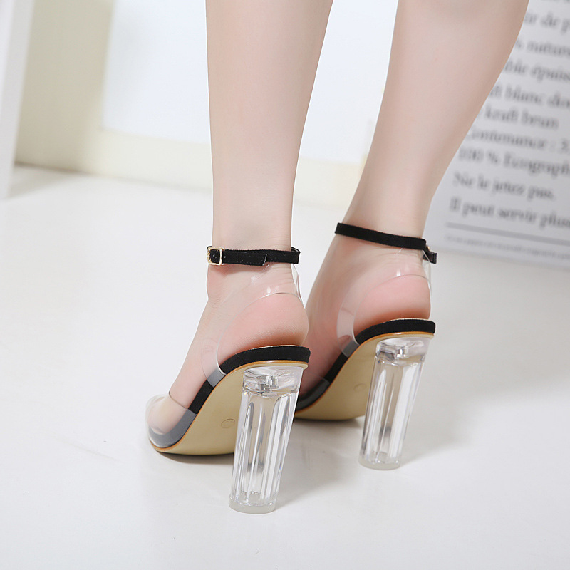 Mujer Alto Con Tacón Negro Zapatos 42 Tamaño Sentido plata Boca Grueso De Femeninas Transparente Sandalias 35 Pez Femenino Gran wAxqEfCEa