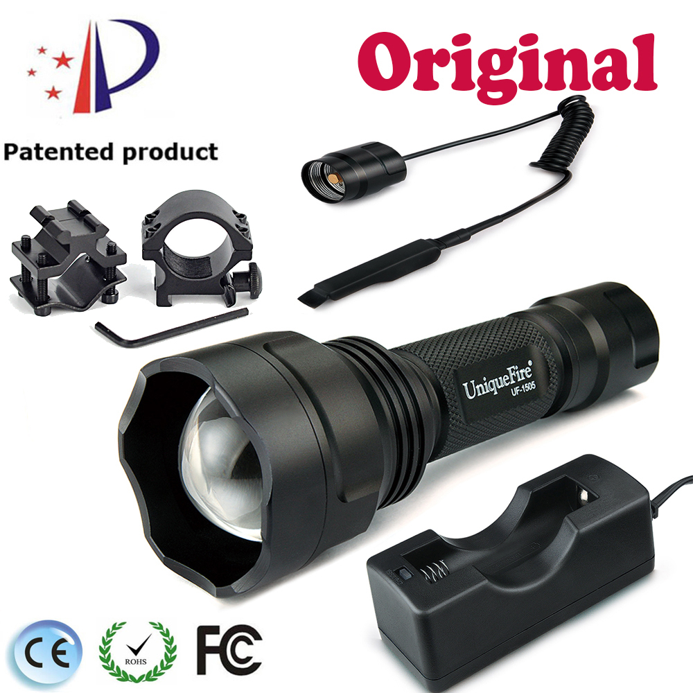 UniqueFire IR Flashlight 1505 T38 IR940nm Infrared Light Powerful Led Flashlight+Scope Mount+Pressure Switch+USB Charger uniquefire night vision t67 flashlight uf 1405 ir 850nm led flashlight kit lamp torch remote pressure scope mount charger