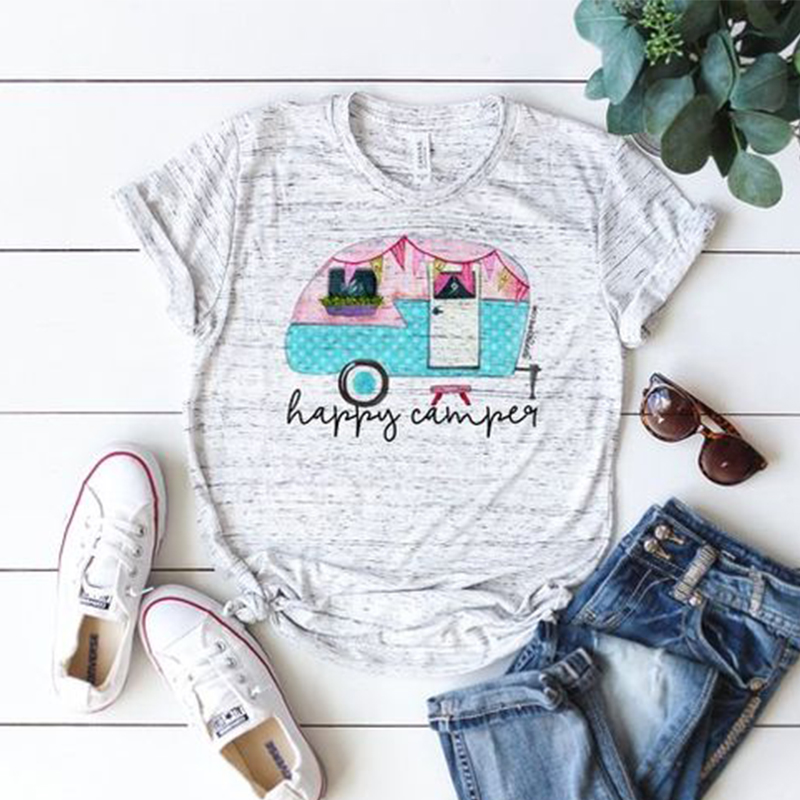 New Women T-shirt Hot Fashion Summer Female Tee Top Letter Happy Camper Womens Tshirts Festivals Classics Comfort Tops