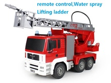 Remote control engineering vehicle Water spray Fire engine Telescopic ladder Children s toy car Birthday Christmas