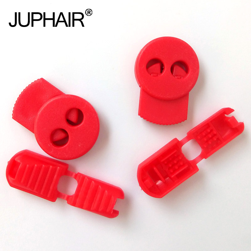 JUP1-50 Sets Red Flat Buckle Gear Elastic Shoes Buckles Hole Plastic Stopper Toggle Clip Apparel Shoelace Sportswear Accessories brick red rubber stopper for banks with 1 hole