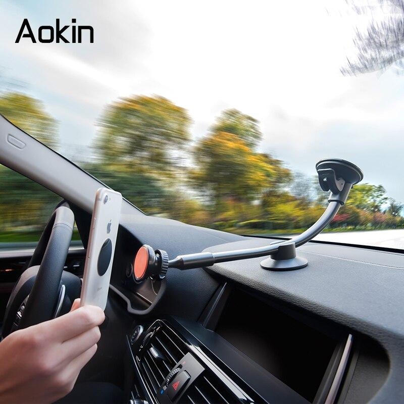 imágenes para Aokin Sostenedor Del Teléfono Del Coche Brazo Largo Universal Dashboard Del Parabrisas Cuna Teléfono Stands Titulares de Teléfono de Ventilación de Aire Para el iphone Samsung HTC