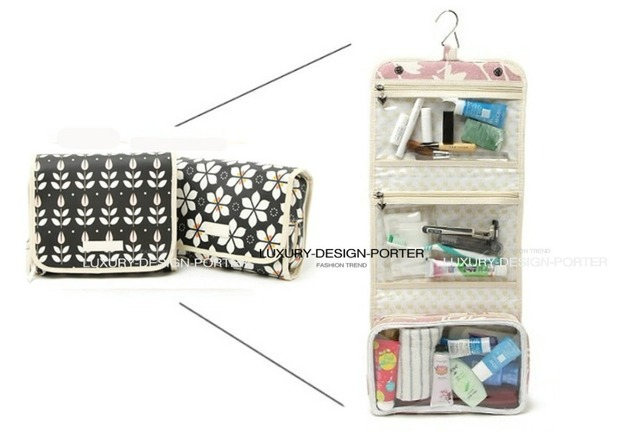 Designer Classic Fold out waterproof Cosmetic Toiletry bag Elegant Travel Organizer Free shipping