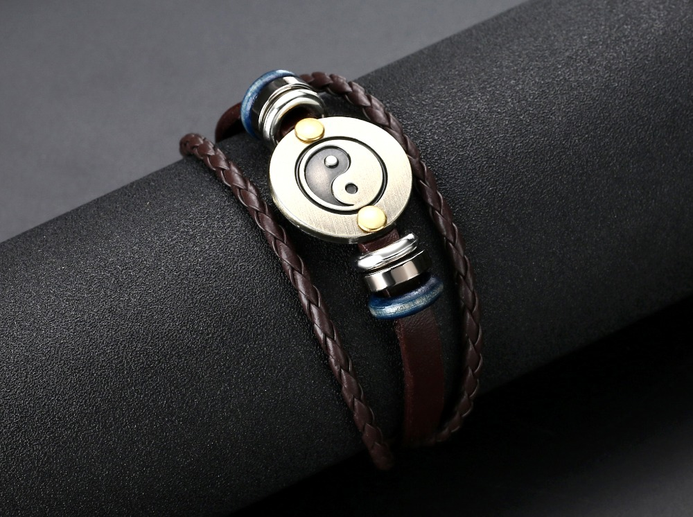 Mens Brown Leather Yin Yang Bracelet