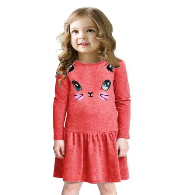 Prenses kız elbise yeni moda yaz kedi baskı çocuklar uzun kollu karikatür bebek kız pamuk parti elbiseler çocuklar için