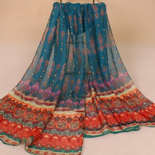 1pc Indian Style Print Chiffon Scarf New Silk Feeling Breathable Shawl Hijabs Autumn Womens Thin Wraps Cheap Printed Scarf XQ289