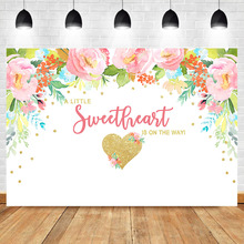 NeoBackIce Baby Shower Backdrop Watercolor Flower Gold Love Heart Girl Party Cake Table Decoration Background Photography