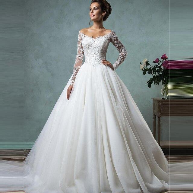 vestido de novia 2017 cheap lace wedding dresses long sleeve fall