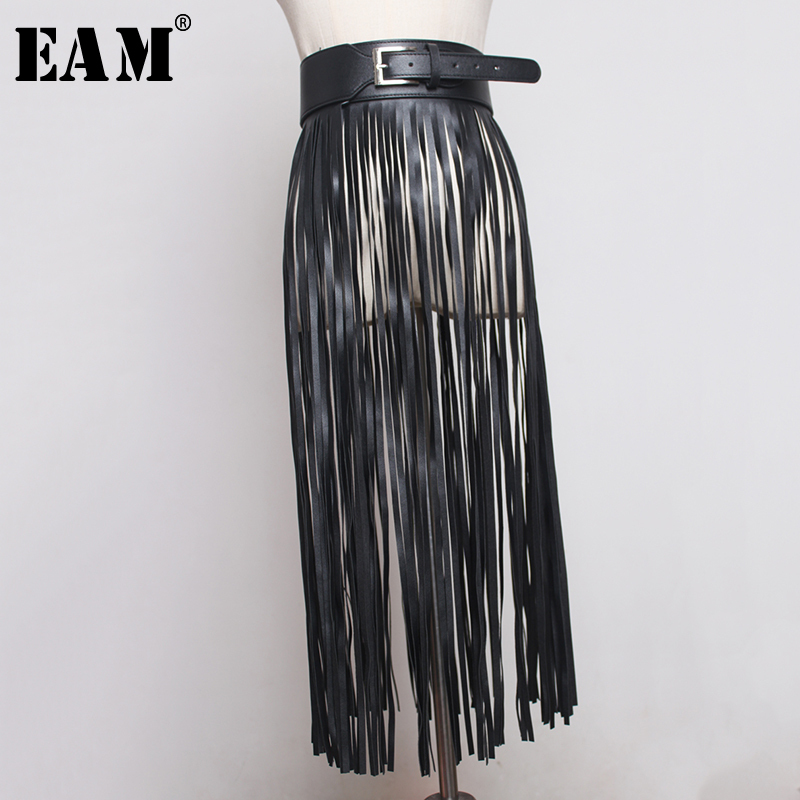 [EAM] 2020 New Spring Summer Pu Leather Long Tassel Brief Personality Girdle Decoration Belt Women Fashion Tide All-match JX375