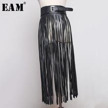 [EAM] 2020 New Spring Summer Pu Leather Long Tassel Brief Personality Girdle Decoration Belt Women Fashion Tide All match JX375