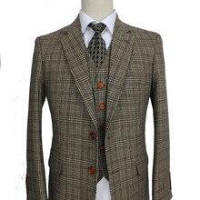 Ретро коричневый плед смокинги для жениха индивидуальный заказ slim fit Свадебные костюмы для мужчин блейзеры на заказ костюмы 3 шт