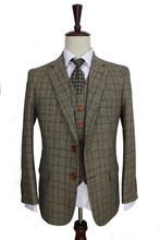 retro Brown plaid groom tuxedos custom made slim fit Wedding Suits for men Blazers tailor made suits 3 piece cheap BD tailormade Zipper Fly 3 pieces(Jacket Pant Vest) Rayon Wool Single Breasted Straight England Style 65 wool 35 Rayon
