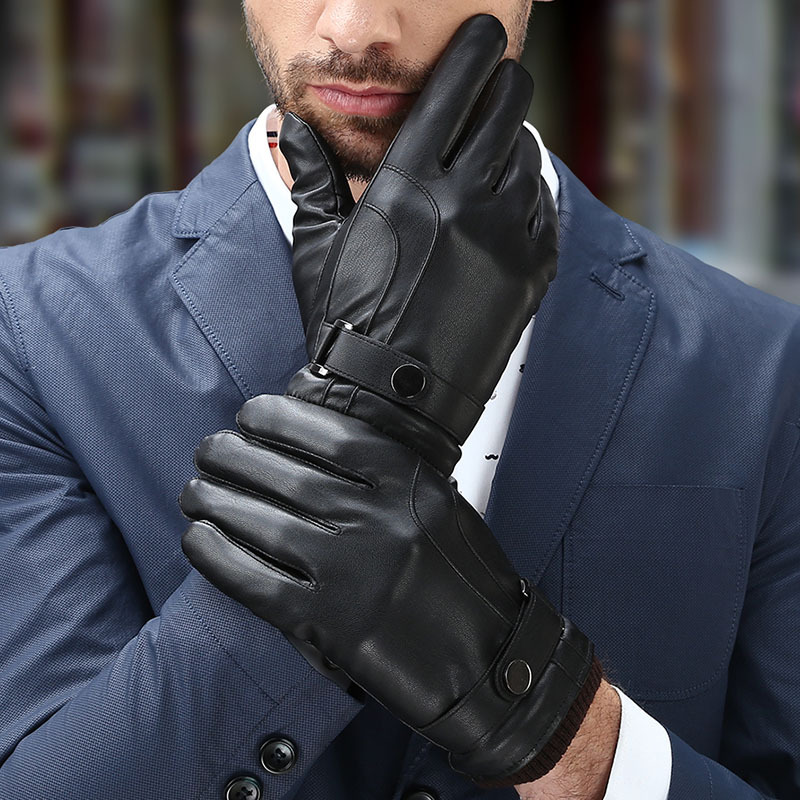 Autumn Winter Men Comfortable Touching Screen Gloves Fashion Winter Warm Faux Fur Gloves