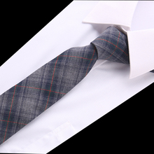 Joy alice Fashion Skinny Cotton  ties for men Custom made Brand name Checked Slim Mens neckties For gift suit accesories