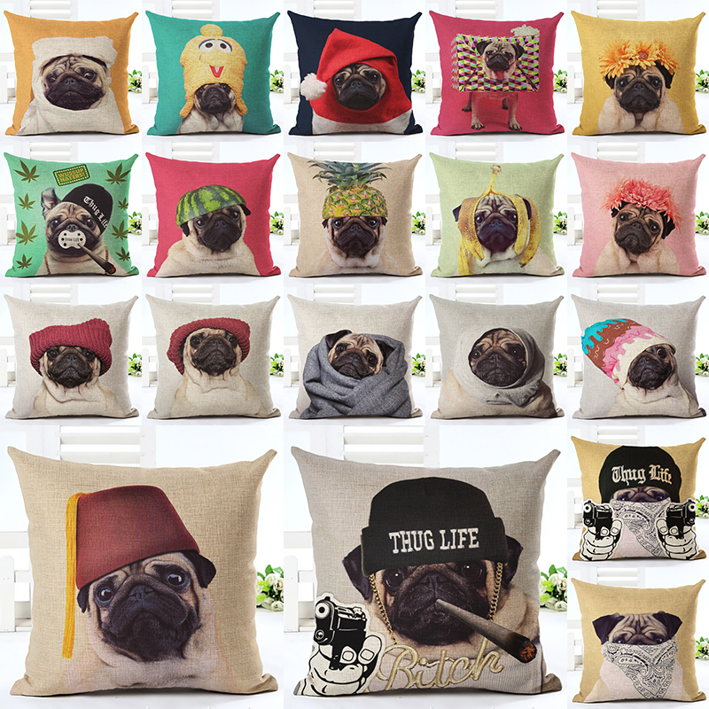 2017 Hot Selling Wearing Hat Pug Home Dekorativa Soffa Pushing Kuddefall Cotton Linen Square Kuddar kuddehölje