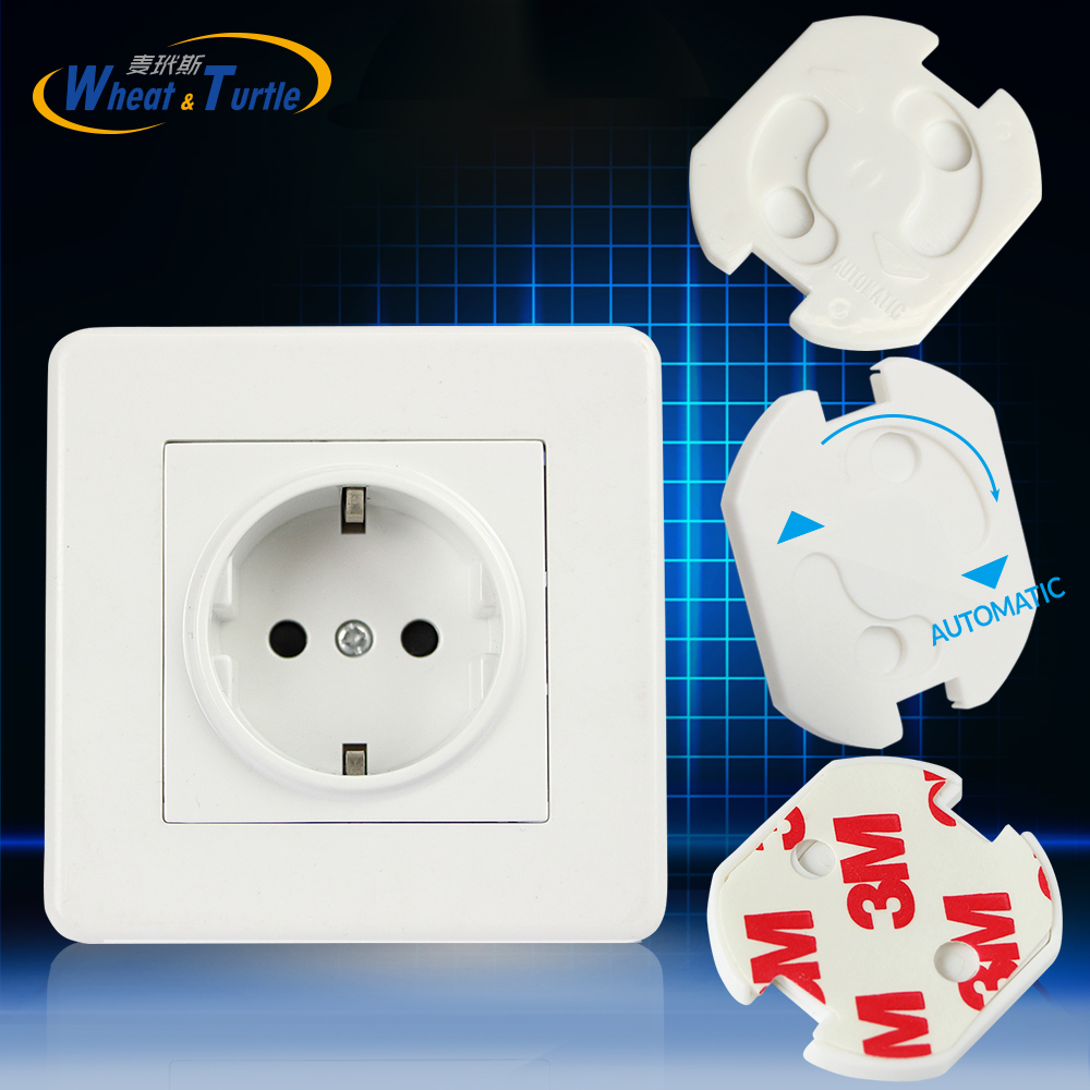 10pcs EU Stand Power Socket Cover Electrical Outlet Baby Child Safety Guard Electric Shock Proof Plugs Protector Rotate Cover new 10pcs plug socket cover baby proof child safety plug protector guard mains