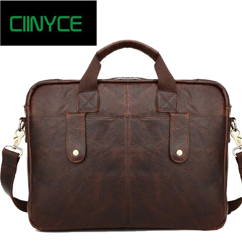 Vintage Full Grain Genuine Cow Leather Soft for Men Business Laptop Tote Handbags Crossbody messenger Bags Brown Briefcase retail 2016 summer infant clothes baby girl clothing sets cotton baby boy cartoon cars letters print t shirts striped pants