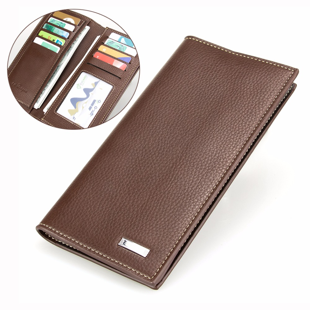 New Brown Litchi Pattern Wallet Men Leather Wallet Two Folds Long Wallets Card Holder Money Purse Minimalist Mans Wallet