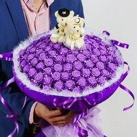 Diy simulatie 66 rose origami bloem boeket schuim spons materiaal pakket papier bloemen valentijnsdag gift sets
