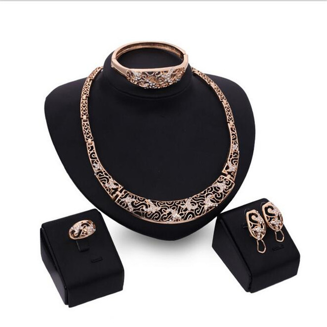 Fashion Necklace  Earring Bracelets Rings bride vintage chain Jewelry Sets For Women Wedding Gift S0210