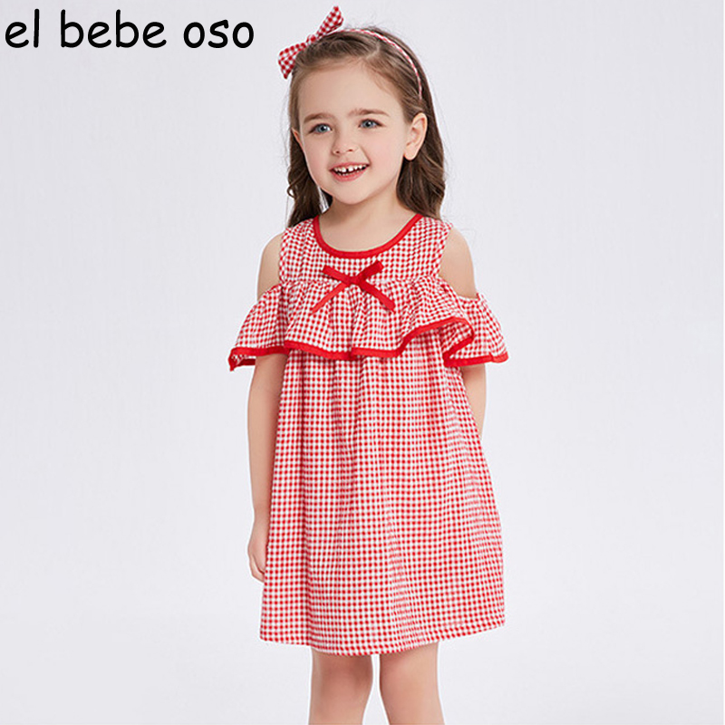 2018 New Summer A-Line Dress for Girls Off the Shoulder Plaid Casual Kids Girls Clothes baby Girls O-neck Princess Dresses XL290