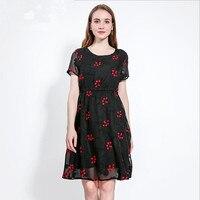מראה חדש קיץ דק רקום פרח שמלה סביב צוואר שרוול קצר גודל גדול vestido שמלה סקסית אופנה נוח