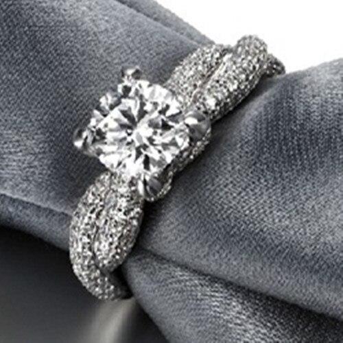США импорта 2CT Муассанит проверить 585 Белое золото одноцветное ювелирных Муассанит Обручение кольцо для Для женщин золото 14 карат