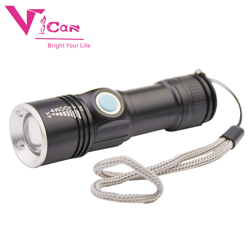 Portable USB Handy Powerful LED Flashlight Rechargeable Torch usb Flash Light Bike Pocket LED Zoomable Lamp