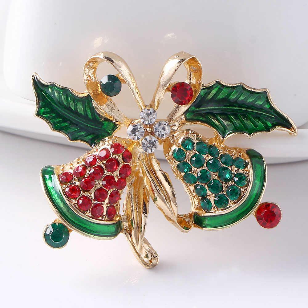 Vintage Buatan Tangan Hadiah Natal Pohon Jingle Bell Bros Pin untuk Wanita Perhiasan Warna-warni Batu Unisex Pakaian Garmen