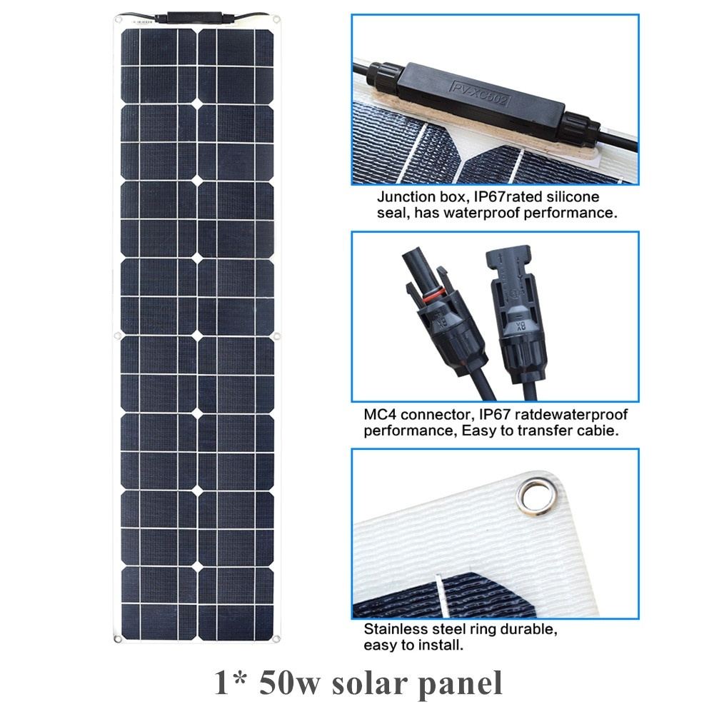 50W 12 V Extremely Flexible Solar Panel with ETFE Layer - Ultra Lightweight Ultra Thin Up to 248 Degree Arc for RV Boats Roofs50W 12 V Extremely Flexible Solar Panel with ETFE Layer - Ultra Lightweight Ultra Thin Up to 248 Degree Arc for RV Boats Roofs