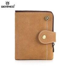 GENMEO New RFID Blocking Genuine Leather Wallet Men Cow Clutch Money Bag Coin Purse with Card Holder Bolsa Feminina