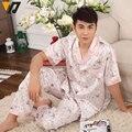 Homens Imitado Pijamas De Seda Definir Turn-down Collar Sleepwear-manga Curta Salão de Champanhe Azul 3 cores L-3XL Masculino pijama