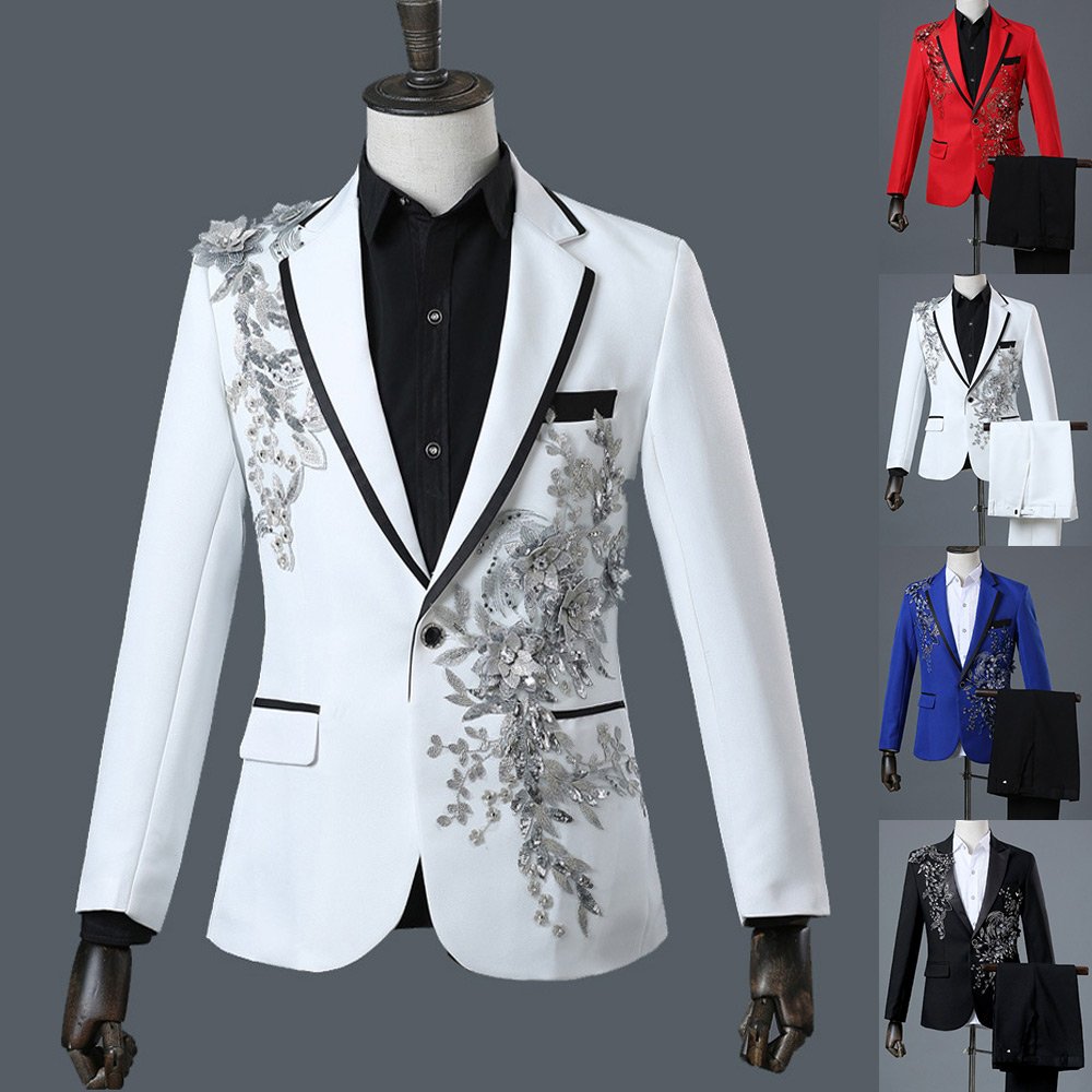 Three Pieces Set Suits Men's Singers Perform Stage Show Sequins Embroidered Flower Red Blue White Wedding Suit Gown