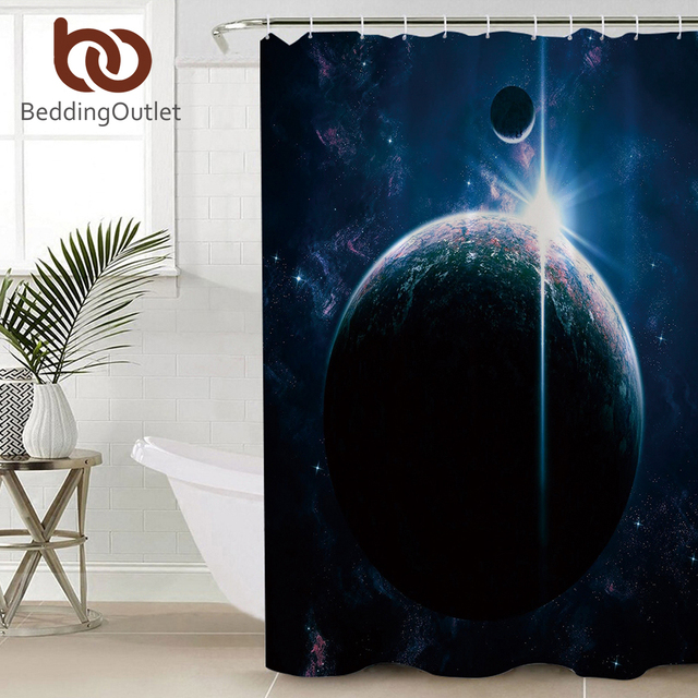 BeddingOutlet Universe Shower Curtain For Bathroom 3d Printed Galaxy Bath With Hooks Waterproof Polyester Home