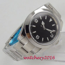 цена 40mm Bliger Sterile Black Dial Stainless steel Case Automatic Movement men's Watch онлайн в 2017 году