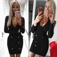 TYJTJY 2019 V Neck Elegant Autumn Winter Buttons New Women Dresses Sheath Sexy Clubwear Office Party Dress Red Dress Club 2XL