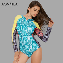 AONIHUA 2018 Front zipper One-Piece Swimsuit Women Long sleeve Geometric pattern printing Swimwear Push up swimming Suit 9011