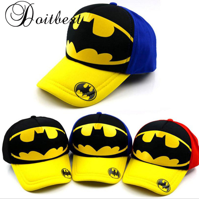 2018 Spring Children Hip Hop Baseball Cap Batman Bend brim summer kids Sun  Hat Cartoon Boys Girls snapback Caps 2-8 years old e24e16b8a26a