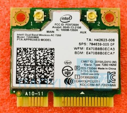 Doble banda Wireless-AC7260 7260HMW 7260AC 7260 HMWAC media Mini PCI-e BT4.0 tarjeta inalámbrica para HP EliteBook 820 840 850 860