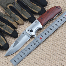 Browning DA51 Stainless Steel Tactical Folding Knife Wood Handle for Outdoor Survival Camping Hunting Household