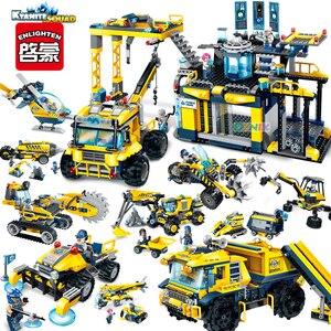 Городской строительный инженерный конвейер кьянит отряд экскаватор база Совместимость строительные кирпичные блоки детские игрушки Детс...