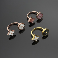 2018 New Brand Version Round Square Gray Shell Quatrefoil Opening Ring Gold Rose Color Clover Flower